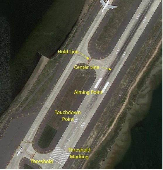 runway markings at a major airport