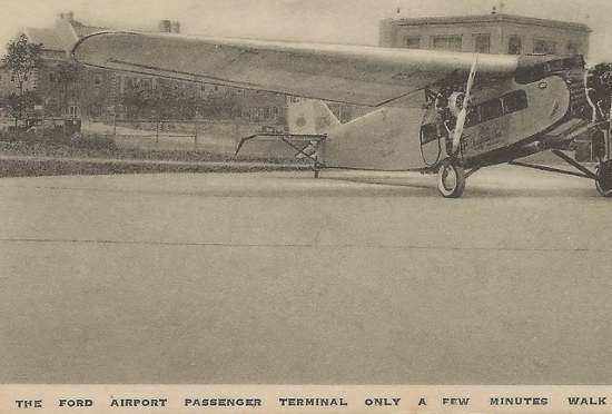 a ford trimotor sits on the apron at ford airport in dearborn mi