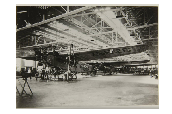 a ford trimotor sits on the assembly line in dearborn michigan