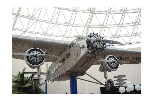 a pan am ford trimotor on display in a museum