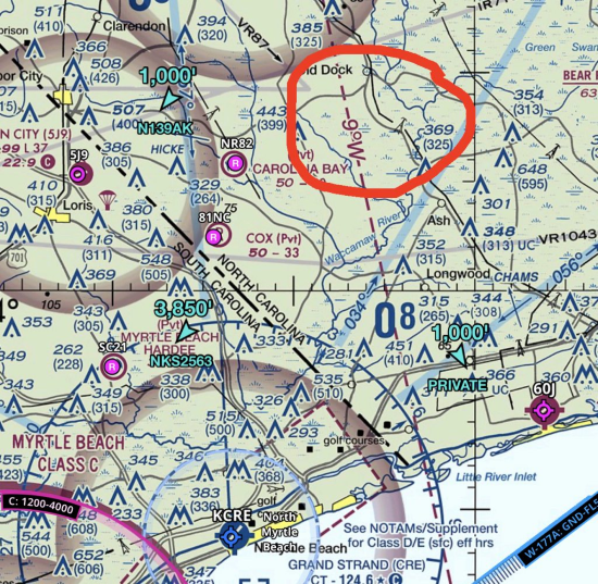 a sectional chart showing magnetic variation for grand strand airport