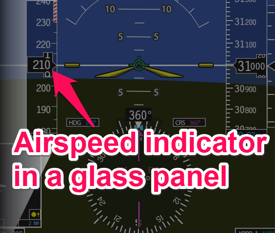 Airspeed indicator in a glass panel