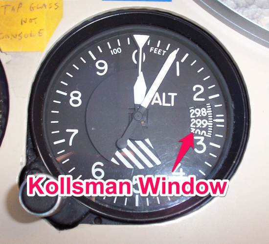 an example of a kollsman window in an altimeter