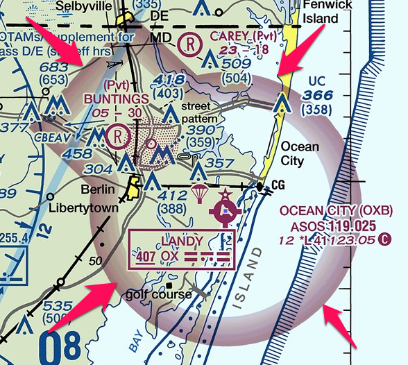 an example of class e airspace on a vfr sectional - this starts at 700 ft