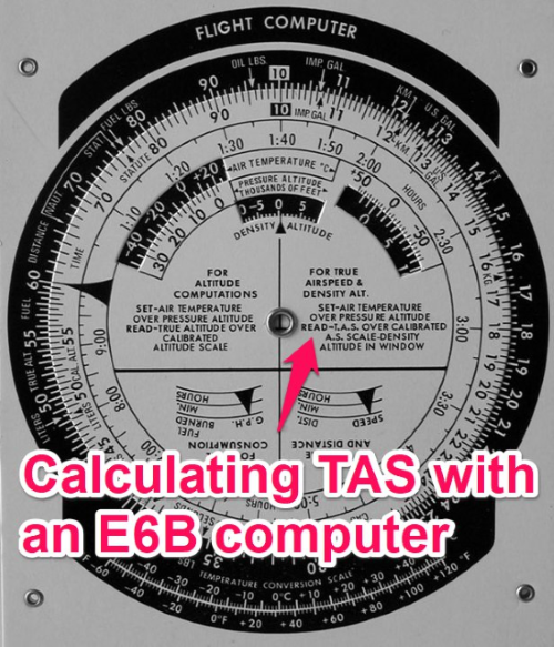 calculating true airspeed with an e6b flight computer