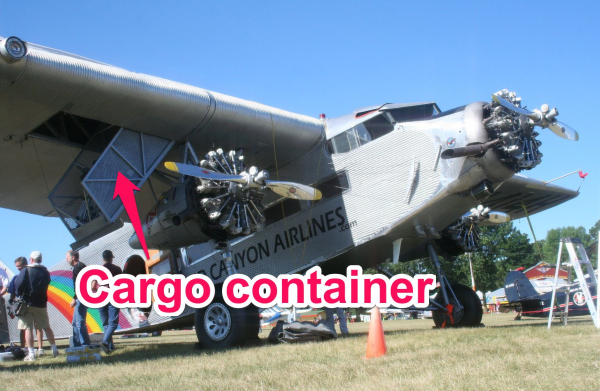 cargo container in the wing of a ford trimotor
