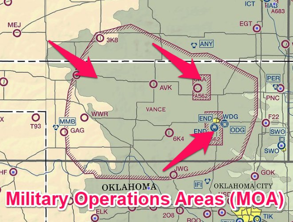 military operations areas surround vance air force base in Oklahoma