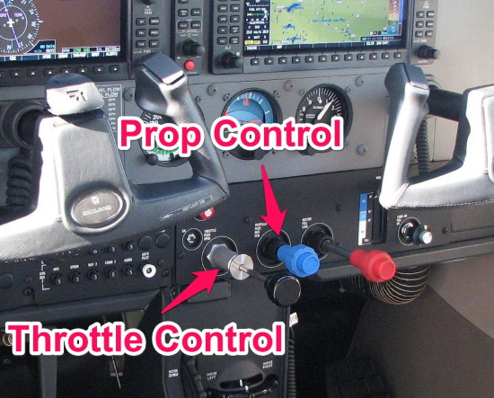 throttle and prop controls in a cessna 182
