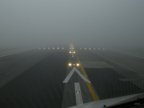 pilots view at Lisbon airport in Portugal - the RVR in this picture is about 660 ft
