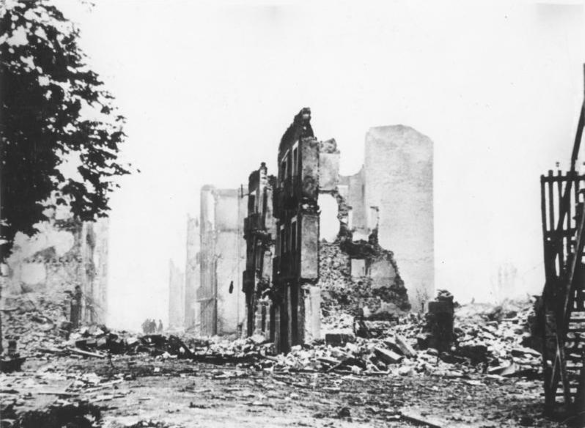 the rubbled remains after the bombing of guernica by JU 52s